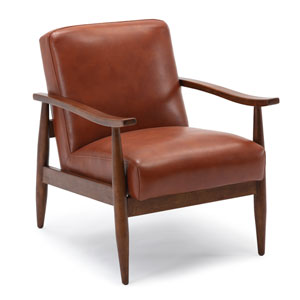 Austin Caramel and Walnut Wooden Base Accent Chair