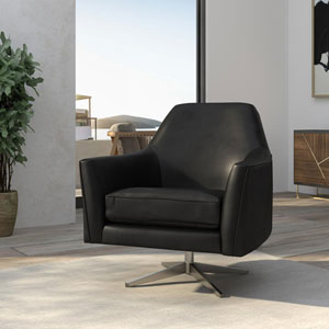 Phoenix Black Leather Gel Swivel Armchair