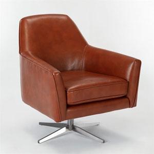 Phoenix Caramel Leather Gel Swivel Armchair