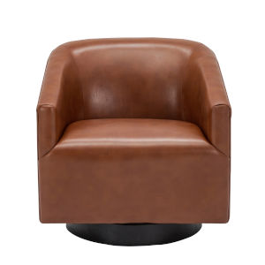 Gaven Caramel Wood Base Swivel Chair