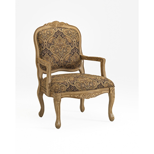 Tan and Black French Provincial Styling Arm Chair