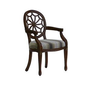 Heirloom Spider Back Chair Intricately Carved with Gold Highlighted Details