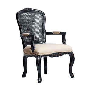 Ayla Black Carved Chair with Beige Linen