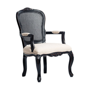 Anna Black Carved Chair with Ivory Linen