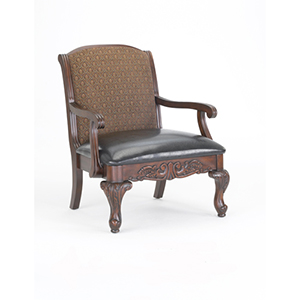 Brown Traditional Elegant Carved Occasional Chair