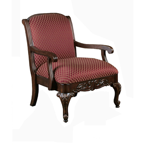 Red Traditional Elegant Carved Occasional Chair