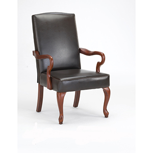 Dark Brown Goose Neck Arm Chair In Bonded Leather