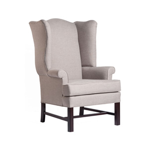 Jitterbug Cherry Chippendale Wing Chair with Linen Fabric