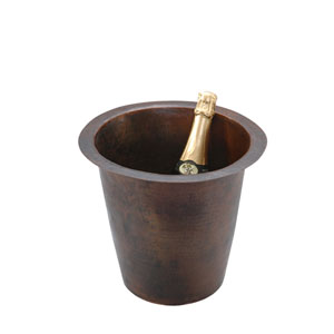 Round Hammered Copper 12-Inch Champagne Bar/Prep Sink