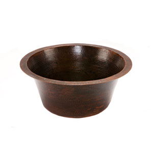 Round Hammered Copper 16-Inch Prep Sink with 3.5-Inch Drain Size