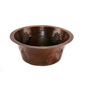 Round Copper 16-Inch Prep Sink with Grapes and 3.5-Inch Drain Size