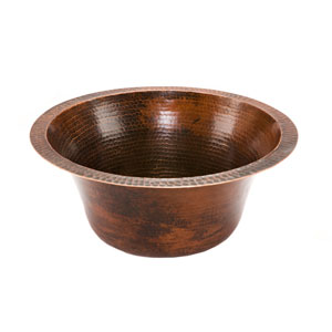 Large Round Hammered Copper Prep Sink