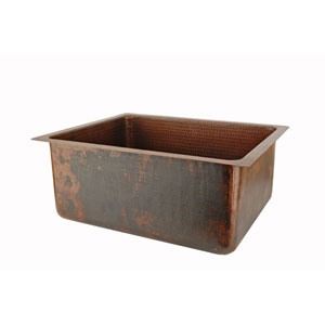 Hammered Copper 20-Inch Kitchen/Bar/Prep Single Basin Sink