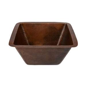 Square Hammered 15-Inch Copper Bar/Prep Sink with 2-Inch Drain Size