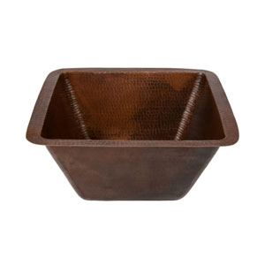 Square Hammered 15-Inch Copper Bar/Prep Sink with 3.5-Inch Drain Size