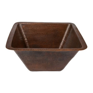 Square Hammered Copper 17-Inch Bar/Prep Sink
