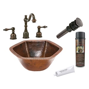 Hexagon Low-Lead Hammered Copper Under Counter Bathroom Sink Package