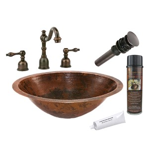 Master Bath Oval Low-Lead Hammered Copper Under Counter Bathroom Sink Package