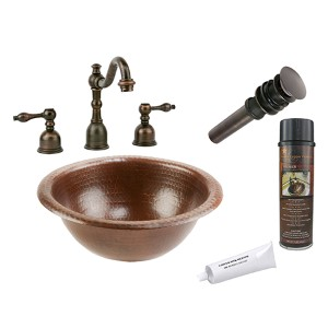 Small Round 12-Inch Wide Low-Lead Hammered Copper Self Rimming Bathroom Sink Package
