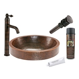 Oval Skirted Hammered Low-Lead Copper Vessel Bathroom Sink Package
