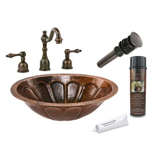 Oval Sunburst Low-Lead Hammered Copper Under Counter Bathroom Sink Package