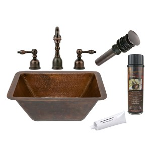 Rectangle Low-Lead Hammered Copper Bathroom Sink Package