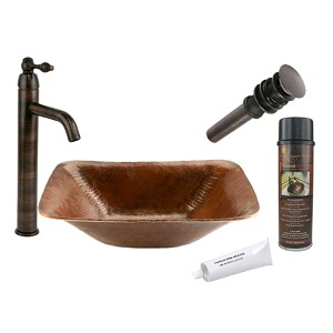 Rectangle Hand Forged Old World Low-Lead Copper Vessel Bathroom Sink Package