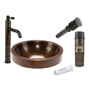 Round Skirted Low-Lead Hammered Copper Vessel Bathroom Sink Package