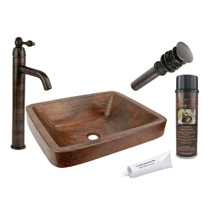 Rectangle Skirted Low-Lead Hammered Copper Vessel Bathroom Sink Package