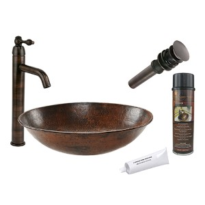 Oval Wired Rimmed Hammered Low-Lead Copper Vessel Bathroom Sink Package