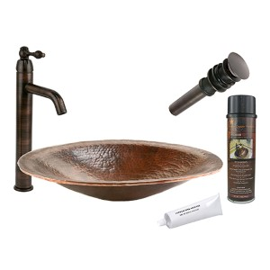 Oval Hand Forged Old Low-Lead World Copper Vessel Bathroom Sink Package