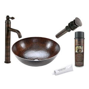 Large Round Low-Lead Hammered Copper Vessel Bathroom Sink Package
