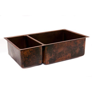 Hammered Copper 33-Inch 25/75 Double Bowl Kitchen Sink