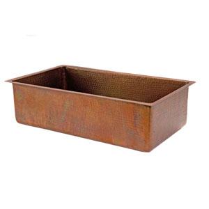 Antique Hammered Copper 33-Inch Single Bowl Kitchen Sink