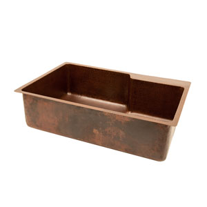 Hammered Copper 33-Inch Single Bowl Kitchen Sink With Space For Faucet