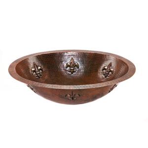 Oval Fleur De Lis Hammered Copper Under Counter Sink