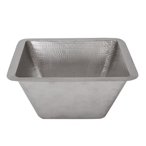 Electroless Nickel 15-Inch Square Under Counter Bathroom Sink