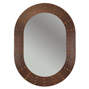 Hand Hammered Oval Copper 35-inch Mirror with Hand Forged Rivets