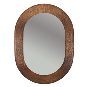 Hand Hammered Oval Copper 35-Inch Mirror