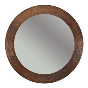 Hand Hammered Round Copper 34-inch Mirror
