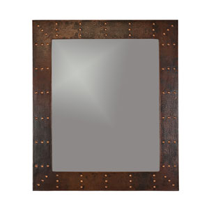 Hand Hammered Rectangle Copper 36-inch Mirror with Hand Forged Rivets