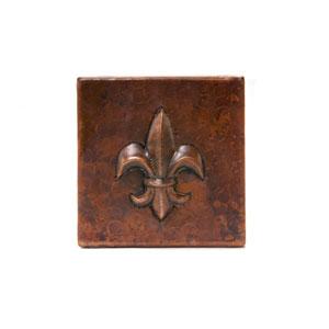 4x4-Inch Copper Fleur De Lis Tile