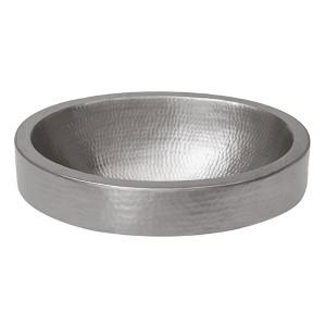 Electroless Nickel 18-Inch Oval Skirted Vessel Bathroom Sink