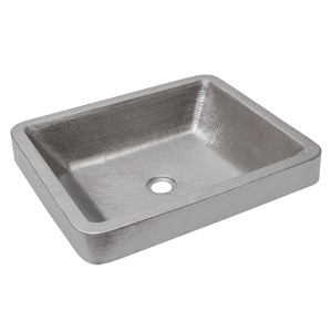 Electroless Nickel 19-Inch Rectangle Skirted Vessel Bathroom Sink