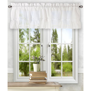 Stacey White 54 x 13-Inch Ruffled Filler Valance
