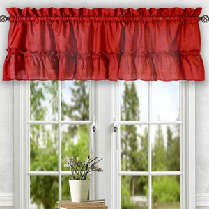 Stacey Red 54 x 13-Inch Ruffled Filler Valance