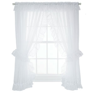 Jessica Sheer 190 x 84-Inch Ruffled Priscilla Pair Curtains with Ties
