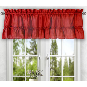 Stacey Red 56 x 24-Inch Tailored Tier Pair Curtains