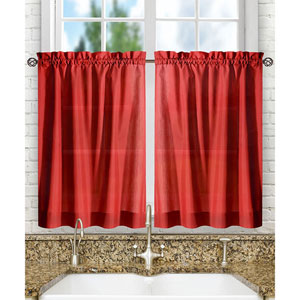 Stacey Red 56 x 36-Inch Tailored Tier Pair Curtains