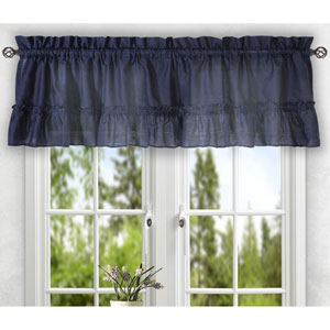 Stacey Navy 56 x 24-Inch Tailored Tier Pair Curtains